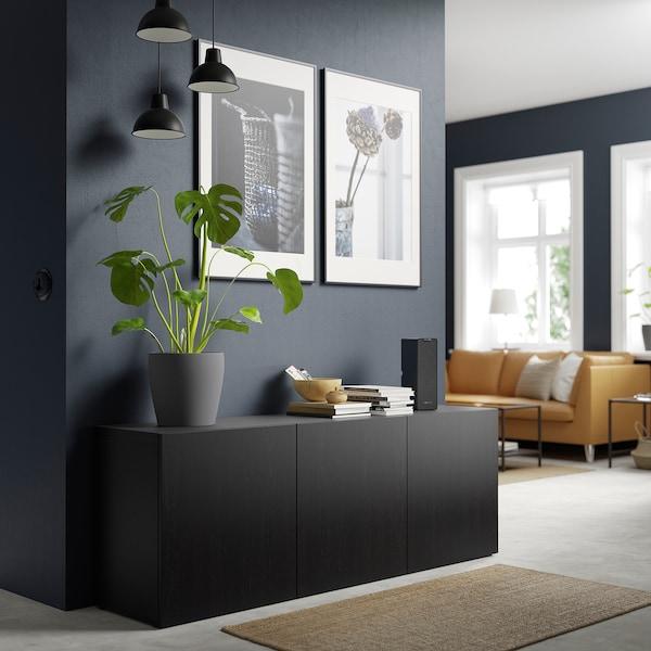 BESTÅ Storage combination with doors, black-brown/Lappviken black-brown, 180x42x65 cm