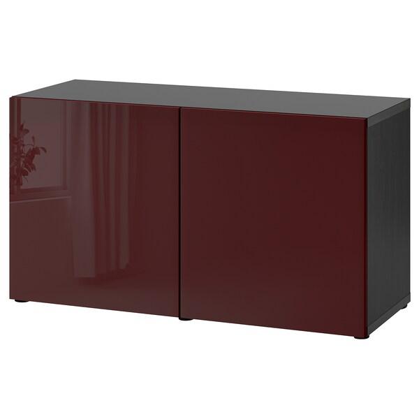 BESTÅ تشكيلة تخزين مع أبواب, أسود-بني Selsviken/لامع أحمر-بني غامق, 120x42x65 سم