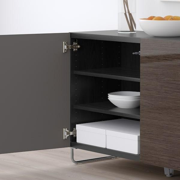 Storage Combination With Doors Bestå Black Brown Selsvikensularp High Glossbrown