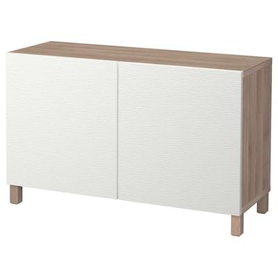 BESTÅ Storage combination with doors, grey stained walnut effect/Laxviken/Stubbarp white, 120x42x74 cm