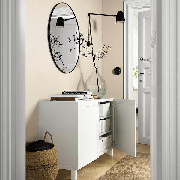 BESTÅ تشكيلة تخزين مع أبواب, أبيض/Hanviken/Stubbarp أبيض, 120x42x74 سم
