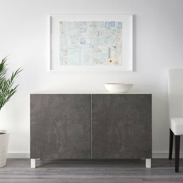 BESTÅ storage combination with doors white Kallviken/dark grey concrete effect 120 cm 40 cm 74 cm