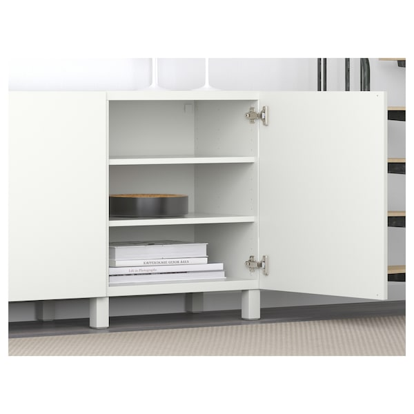 BESTÅ تشكيلة تخزين مع أبواب, أبيض/Lappviken/Stubbarp أبيض, 180x42x74 سم