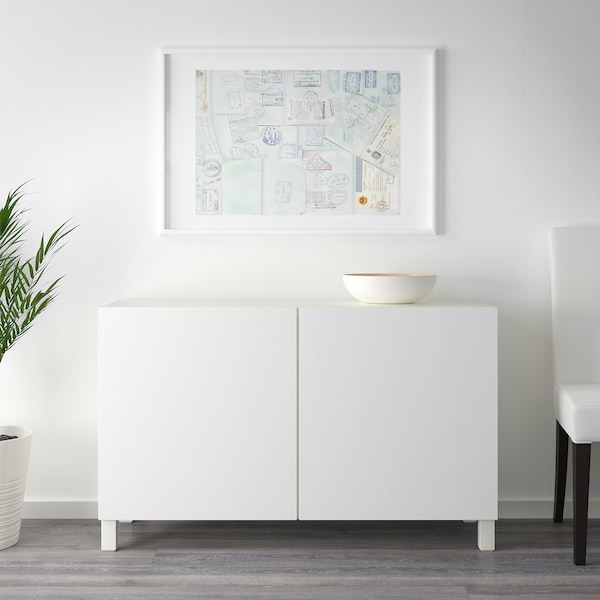BESTÅ storage combination with doors white/Lappviken white 120 cm 40 cm 74 cm