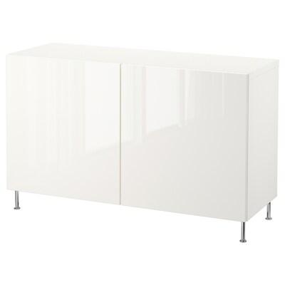 BESTÅ تشكيلة تخزين مع أبواب, أبيض/Selsviken/Stallarp أبيض/لامع, 120x40x74 سم