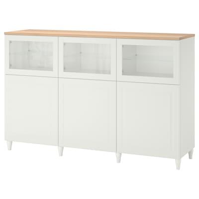 BESTÅ تشكيلة تخزين مع أبواب, أبيض/Smeviken/Kabbarp أبيض زجاج شفاف, 180x42x114 سم