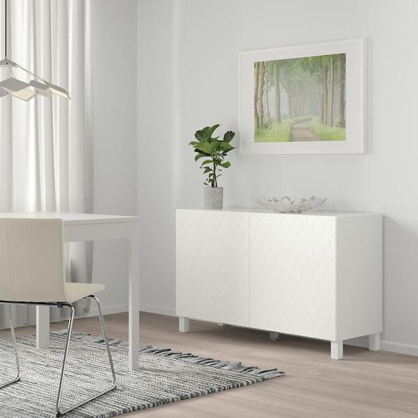 BESTÅ storage combination with doors white/Vassviken/Stubbarp white 120 cm 40 cm 74 cm