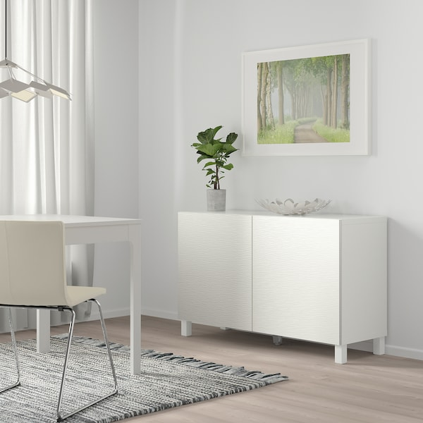 BESTÅ storage combination with doors white/Laxviken white 120 cm 40 cm 74 cm