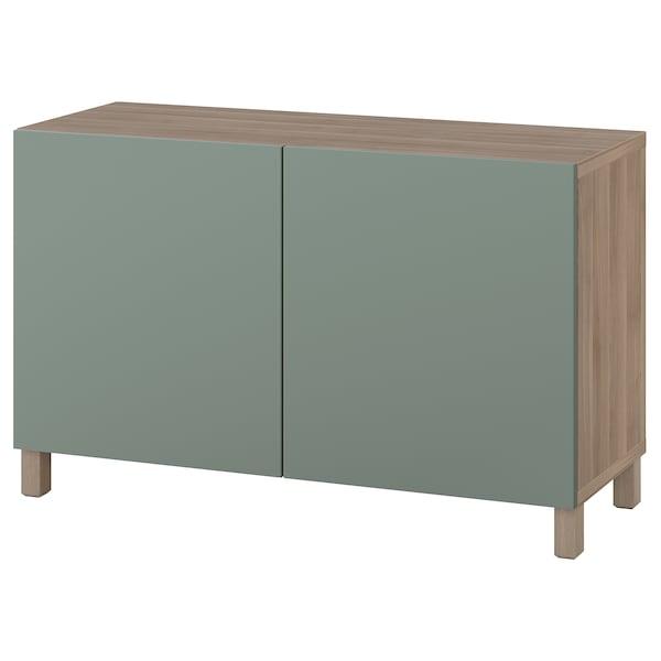 BESTÅ storage combination with doors grey stained walnut effect/Notviken/Stubbarp grey-green 120 cm 42 cm 74 cm