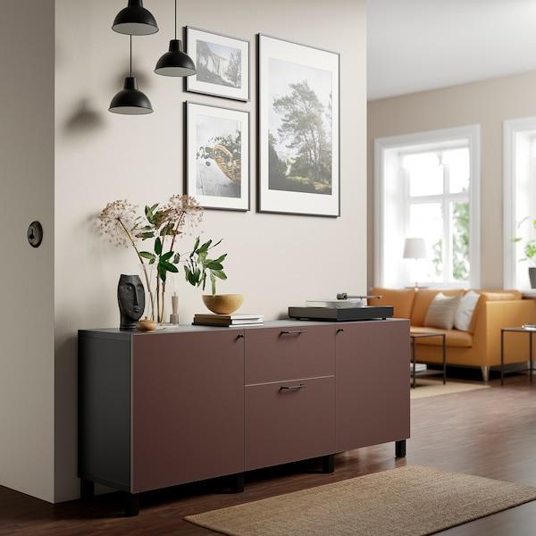 BESTÅ تشكيلة تخزين مع أدراج, أسود-بني/Hjortviken بني, 180x42x74 سم