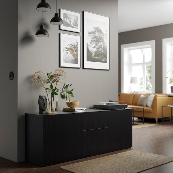 BESTÅ تشكيلة تخزين مع أدراج, أسود-بني/Lappviken أسود-بني, 180x42x65 سم