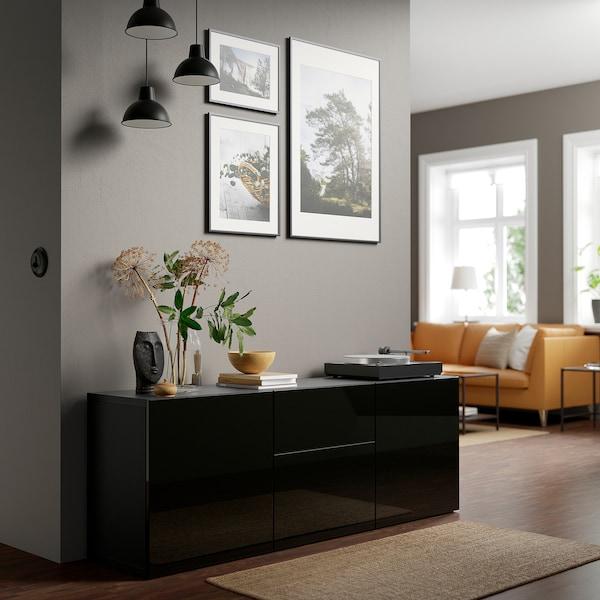 BESTÅ تشكيلة تخزين مع أدراج, أسود-بني/Selsviken أسود/لامع, 180x42x65 سم