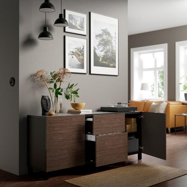 BESTÅ تشكيلة تخزين مع أدراج, أسود-بني/Selsviken/Stubbarp بني/لامع, 180x42x74 سم