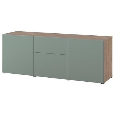 BESTÅ Storage combination with drawers, grey stained walnut effect/Notviken grey-green, 180x42x65 cm