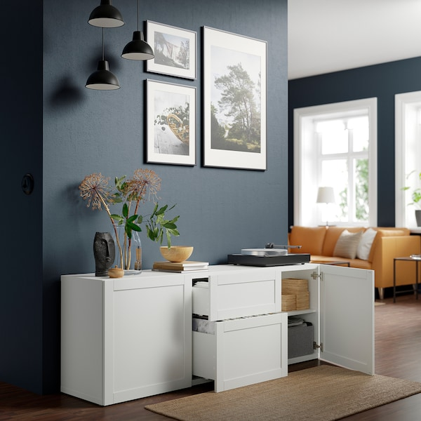 BESTÅ تشكيلة تخزين مع أدراج, أبيض/Hanviken أبيض, 180x42x65 سم