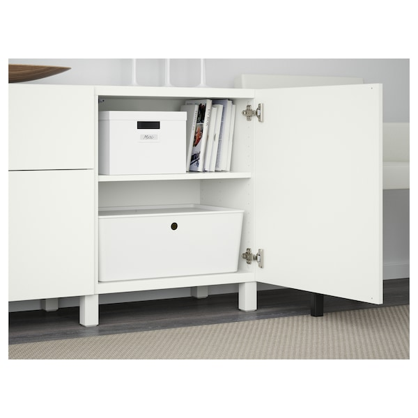 BESTÅ تشكيلة تخزين مع أدراج, أبيض/Lappviken/Stubbarp أبيض, 180x42x74 سم