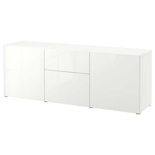 BESTÅ تشكيلة تخزين مع أدراج, أبيض/Selsviken أبيض/لامع, 180x42x65 سم