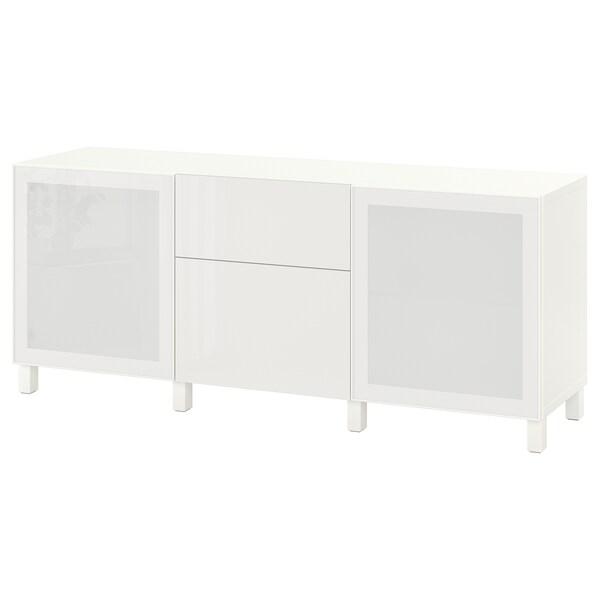 BESTÅ تشكيلة تخزين مع أدراج, أبيض/Selsviken/Stubbarp لامع/زجاج ضبابي أبيض, 180x42x74 سم
