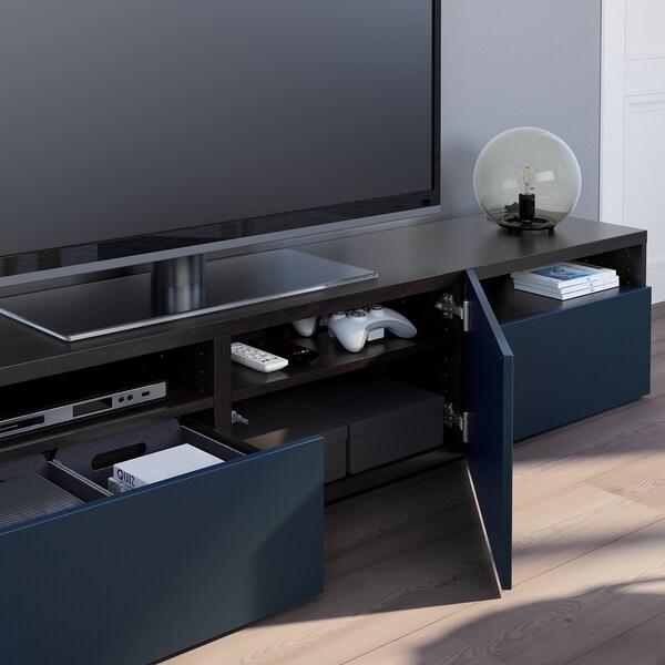 BESTÅ TV bench, black-brown/Notviken blue, 180x42x39 cm