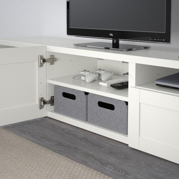 BESTÅ طاولة تلفزيون, أبيض/Hanviken أبيض, 180x42x39 سم