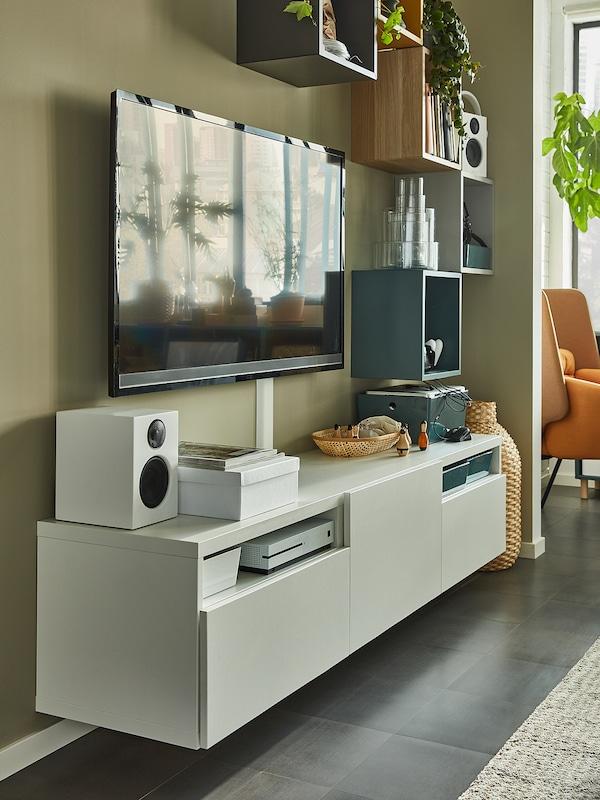 BESTÅ طاولة تلفزيون, أبيض/Lappviken أبيض, 180x42x39 سم