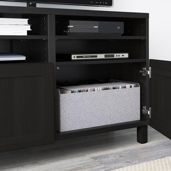 BESTÅ TV bench with doors, black-brown/Hanviken/Stubbarp black-brown, 120x42x74 cm
