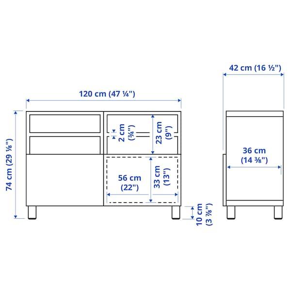 BESTÅ طاولة تلفزيون مع أبواب, أسود-بني/Hanviken/Stubbarp أسود-بني, 120x42x74 سم