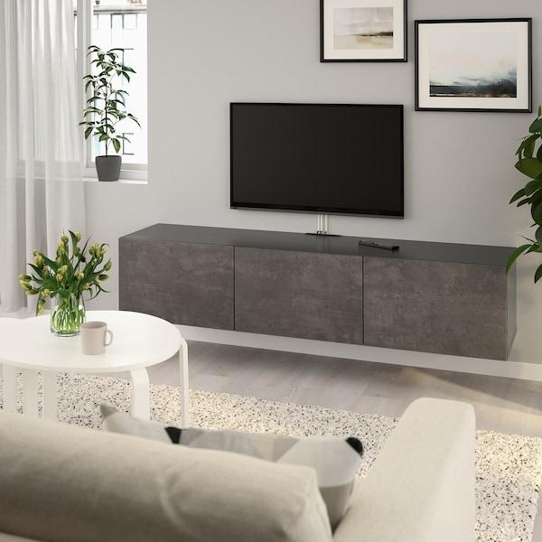 BESTÅ TV bench with doors, black-brown/Kallviken concrete effect, 180x42x38 cm
