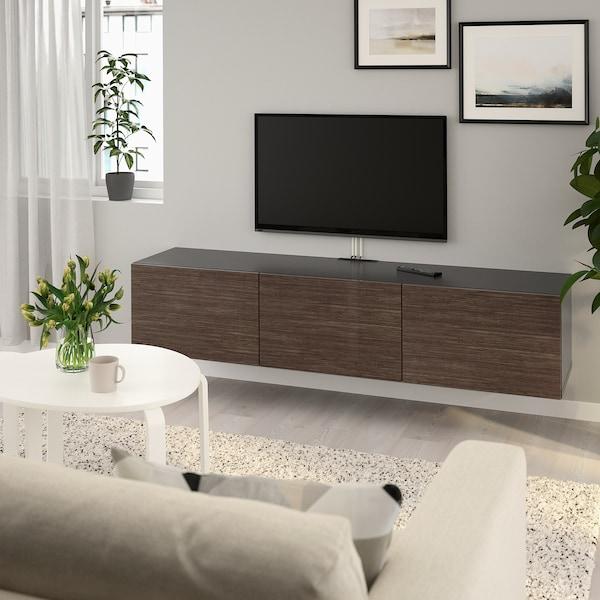 BESTÅ TV bench with doors, black-brown/Selsviken high-gloss/brown, 180x42x38 cm