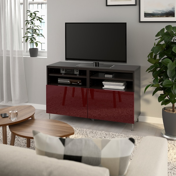 BESTÅ TV bench with doors, black-brown Selsviken/Stallarp/high-gloss dark red-brown, 120x42x74 cm