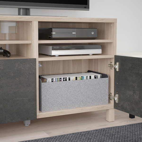 BESTÅ TV bench with doors, grey stained walnut effect Kallviken/Stubbarp/dark grey concrete effect, 120x42x74 cm