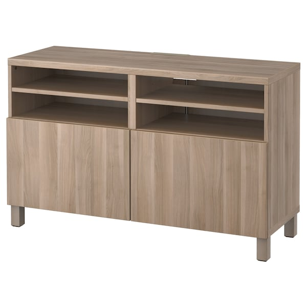 Tv Bench With Doors Bestå Lappviken Grey Stained Walnut Effect Lappvikenstubbarp Grey Stained Walnut Effect