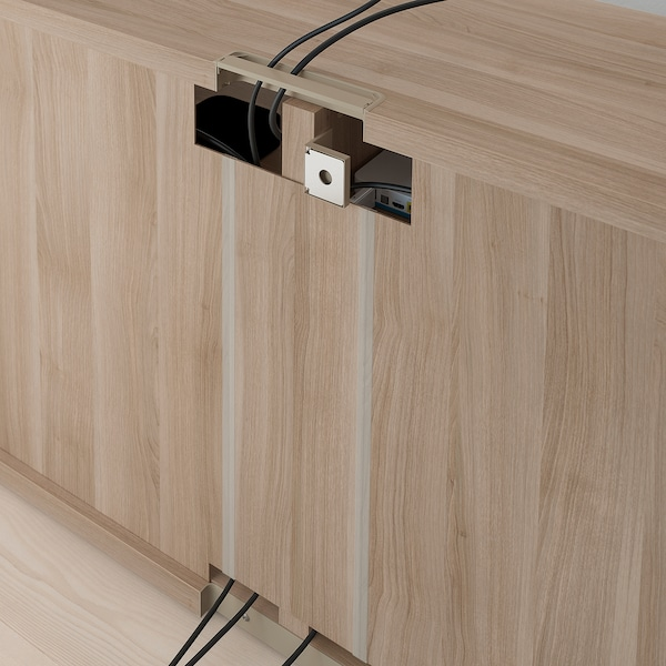 BESTÅ TV bench with doors, grey stained walnut effect/Lappviken/Stubbarp white, 120x42x74 cm