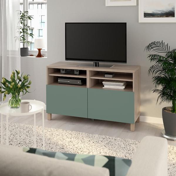 BESTÅ TV bench with doors, grey stained walnut effect/Notviken/Stubbarp grey-green, 120x42x74 cm