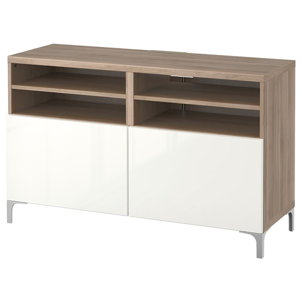 BESTÅ TV bench with doors, grey stained walnut effect/Selsviken/Nannarp high-gloss/white, 120x42x74 cm