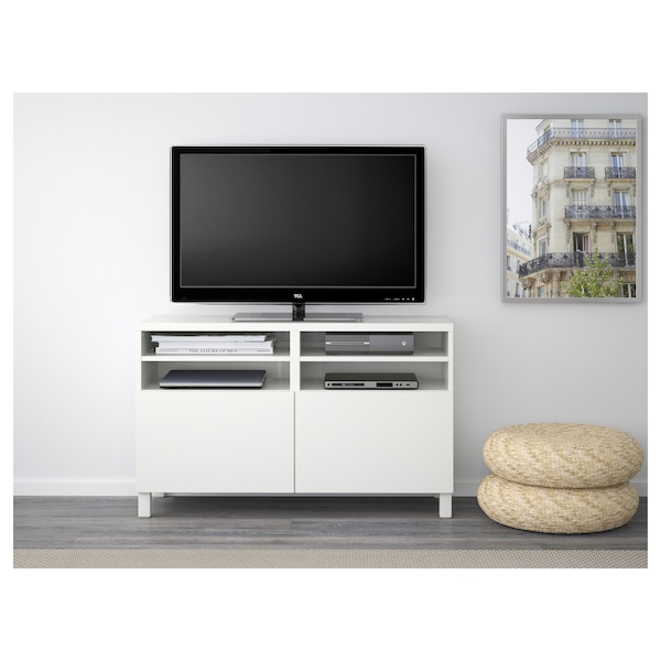 BESTÅ TV bench with doors, white/Lappviken/Stubbarp white, 120x42x74 cm
