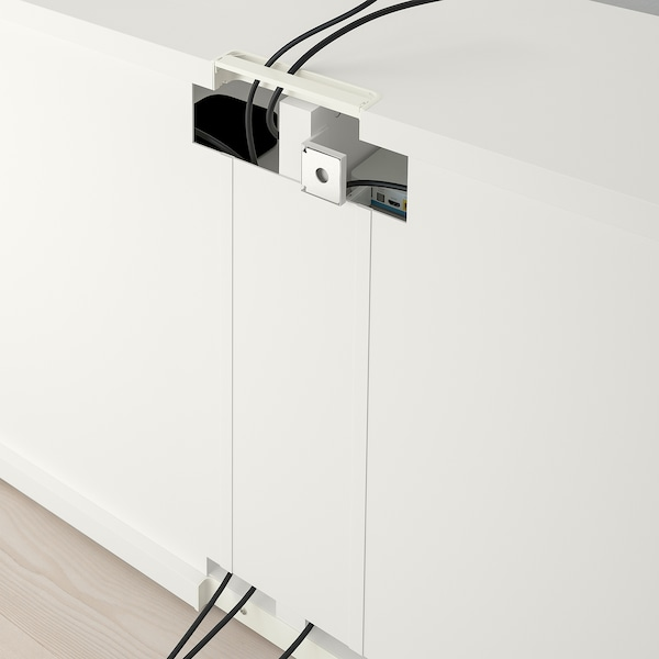 BESTÅ TV bench with doors, white/Sutterviken/Kabbarp grey-beige, 120x42x74 cm
