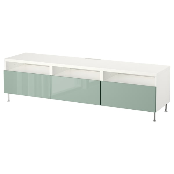 Tv Bench With Drawers Bestå White Selsvikenstallarp High Glosslight Grey Green