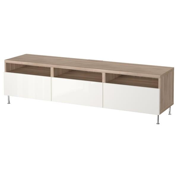 Tv Bench With Drawers Bestå Grey Stained Walnut Effect Selsvikenstallarp High Glosswhite
