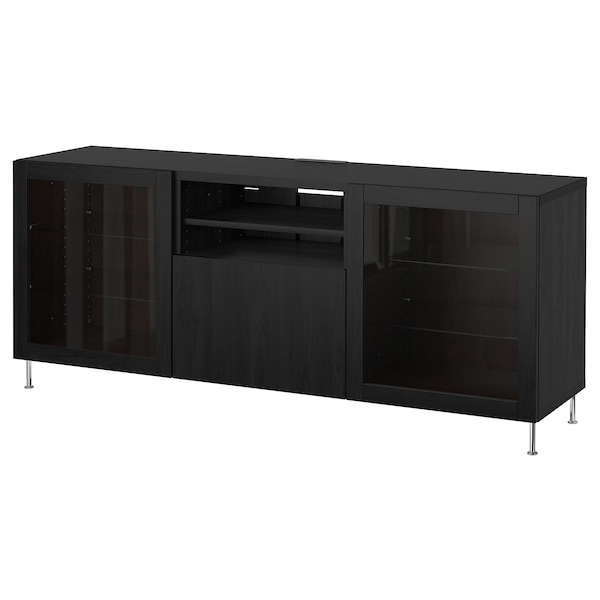 Tv Bench With Drawers Bestå Black Brown Lappvikenstallarp Black Brown Clear Glass