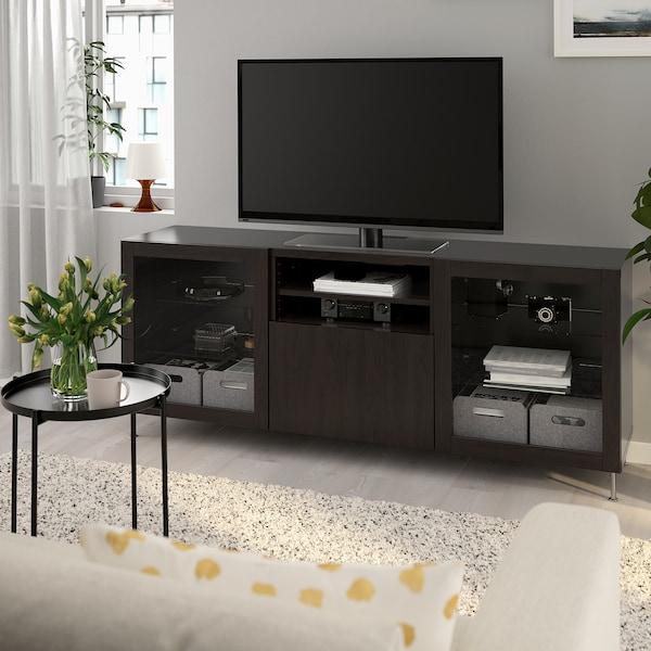 Tv Bench With Drawers Bestå Black Brown Lappvikenstallarp Black Brown Clear Glass