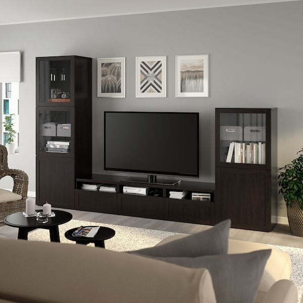 Tv Storage Combinationglass Doors Bestå Black Brown Hanviken Black Brown Clear Glass