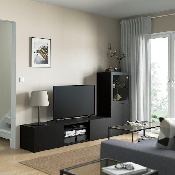 BESTÅ تشكيلة تخزين تلفزيون/أبواب زجاجية, أسود-بني/Lappviken أسود-بني زجاج شفاف, 240x42x129 سم