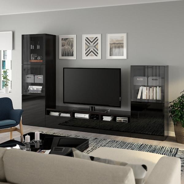 BESTÅ TV storage combination/glass doors, black-brown/Selsviken high-gloss/black clear glass, 300x42x193 cm