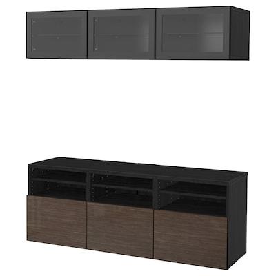 BESTÅ TV storage combination/glass doors, black-brown/Selsviken high-gloss/brown clear glass, 180x40x192 cm