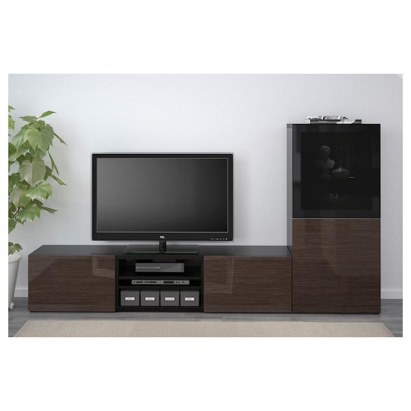 BESTÅ TV storage combination/glass doors black-brown/Selsviken high-gloss/brown smoked glass 240 cm 42 cm 129 cm
