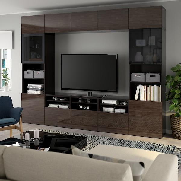 BESTÅ تشكيلة تخزين تلفزيون/أبواب زجاجية, أسود-بني/Selsviken لامع/زجاج دخاني بني, 300x42x231 سم