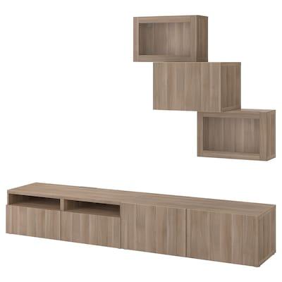 BESTÅ TV storage combination/glass doors, grey stained walnut effect/Lappviken grey stained walnut eff clear glass, 240x42x190 cm