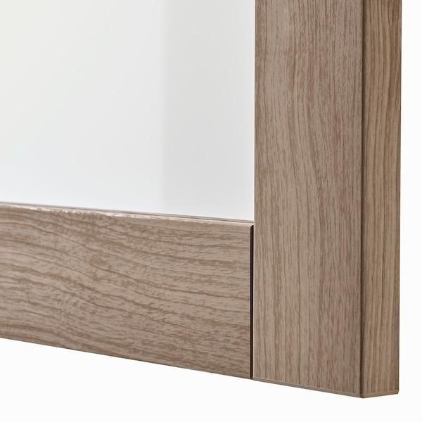 BESTÅ تشكيلة تخزين تلفزيون/أبواب زجاجية, مظهر الجوز مصبوغ رمادي/Lappviken مظهر الجوز مصبوغ رمادي زجاج شفاف, 300x42x211 سم