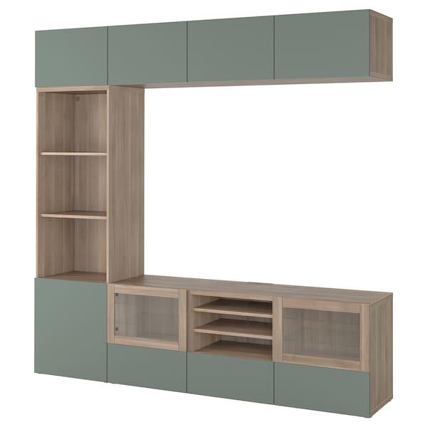 BESTÅ TV storage combination/glass doors, grey stained walnut effect/Notviken grey-green clear glass, 240x42x230 cm